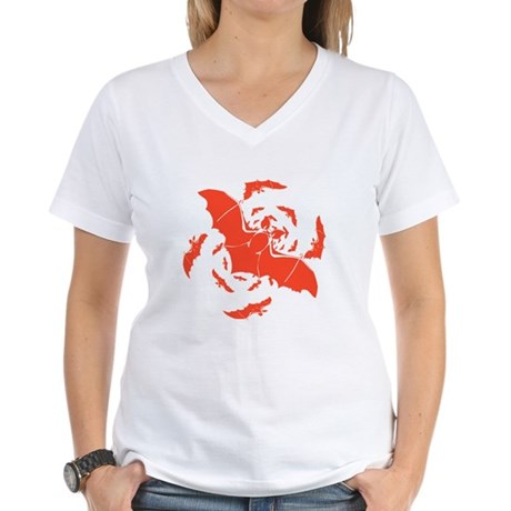 Orange Bats Women's V-Neck T-Shirt