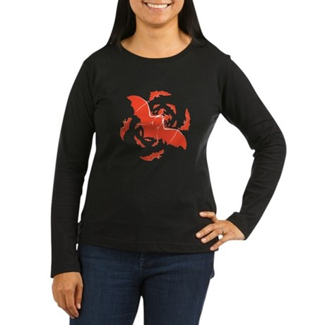 Orange Bats Women's Long Sleeve Dark T-Shirt