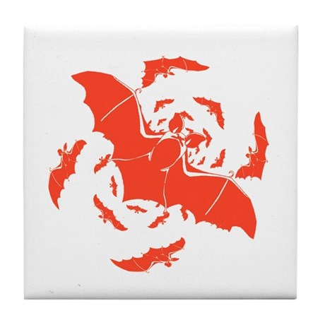 Orange Bats Tile Coaster