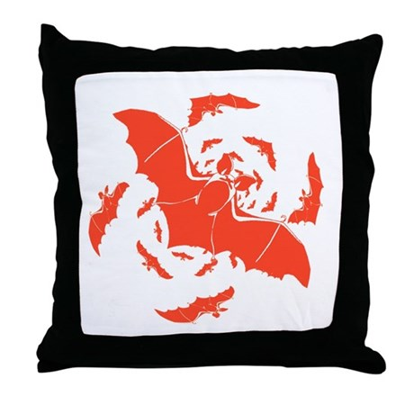 Orange Bats Throw Pillow