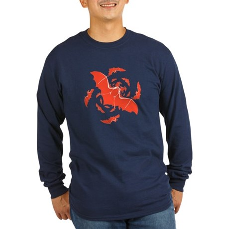 Orange Bats Long Sleeve Dark T-Shirt