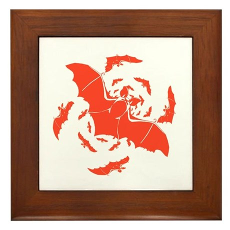 Orange Bats Framed Tile