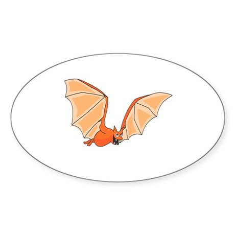Flying Bat Oval Sticker