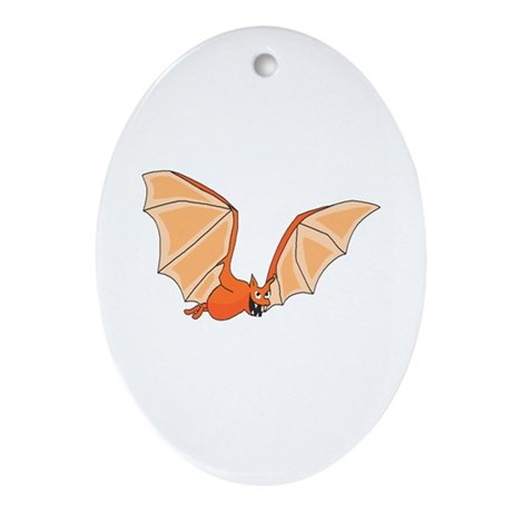 Flying Bat Oval Ornament