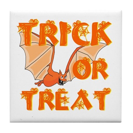 Trick or Treat Bat Tile Coaster