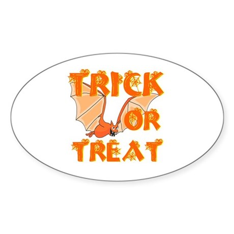 Trick or Treat Bat Oval Sticker