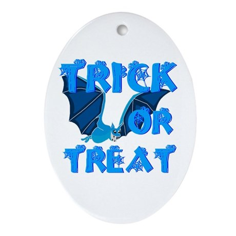 Trick or Treat Bat Oval Ornament