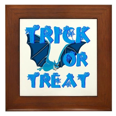 Trick or Treat Bat Framed Tile
