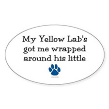 Wrapped Around His Paw (Yellow Lab) Oval Decal