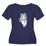 White Bengal Tiger Women's Plus Size Scoop Neck Da