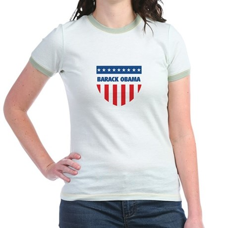 BARACK OBAMA 08 (emblem) Jr. Ringer T-Shirt