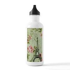 floral paris eiffel to Water Bottle
