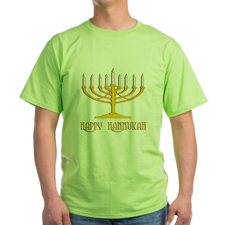 Happy Hanukkah Green T-Shirt