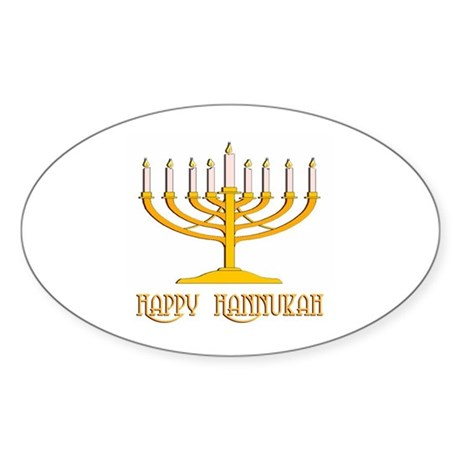 Happy Hanukkah Oval Sticker
