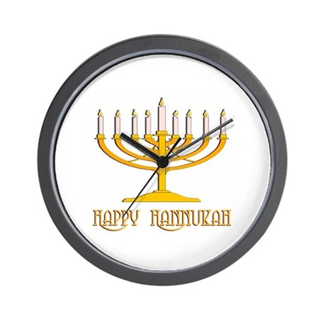 Happy Hanukkah Wall Clock