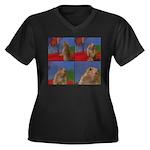 Dramatic Look Women's Plus Size V-Neck Dark T-Shir