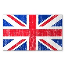 Union Jack Flag Distressed Look Sticker (Rectangul