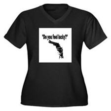 DO YOU FEEL LUCKY (GUN) Women's Plus Size V-Neck D