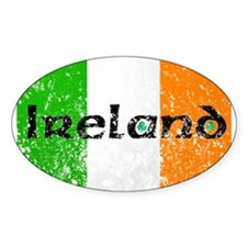 Ireland Flag Distressed Look Oval Decal