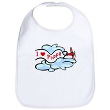 I Love Poppy airplane Bib