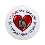 I Love my Sailor Ornament (Round)