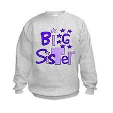 purple big sister funky stars Sweatshirt