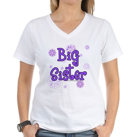 purple big sister Women's V-Neck T-Shirt