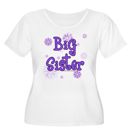 purple big sister Women's Plus Size Scoop Neck T-