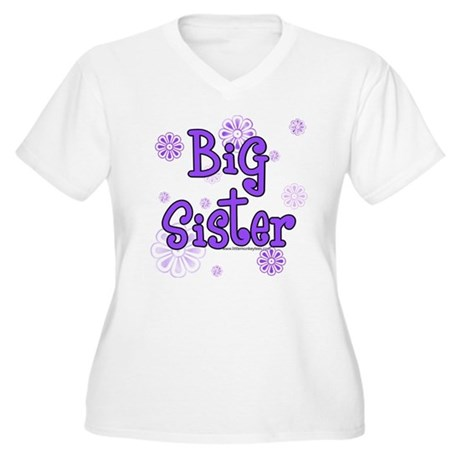 purple big sister Women's Plus Size V-Neck T-Shir