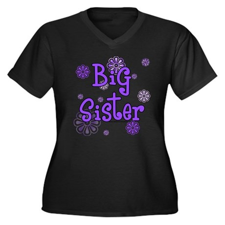 purple big sister Women's Plus Size V-Neck Dark T