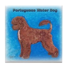 Brown Portuguese Water Dog Tile Coaster