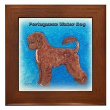 Brown Portuguese Water Dog Framed Tile