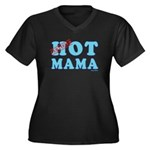 Hot Mama Women's Plus Size V-Neck Dark T-Shirt