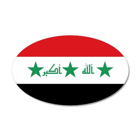 Flag of Iraq 35x21 Oval Wall Decal