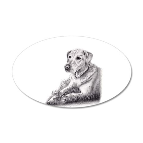Yellow Lab 20x12 Oval Wall Decal