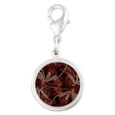 Dragonfly Toffee Flit Silver Round Charm
