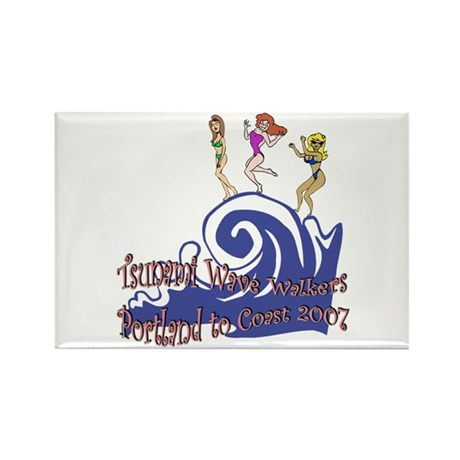 Tsunami Wave Walkers Rectangle Magnet