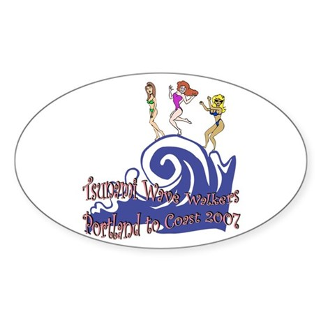 Tsunami Wave Walkers Oval Sticker