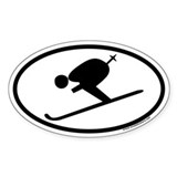 Skiing Oval Sticker with downhill skier graphic.