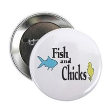"Fish and Chicks 2.25"" Button"
