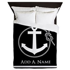 Black and White Nautical Rope and Anch Queen Duvet