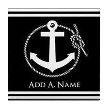 Black and White Nautical Rope and Anc Tile Coaster