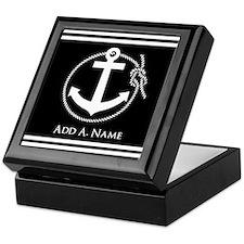 Black and White Nautical Rope and Anc Keepsake Box