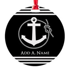 Black and White Nautical Rope and A Ornament