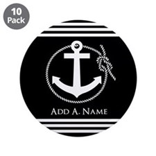 """Black and White Nautical Rop 3.5"""" Button (10 pack)"""