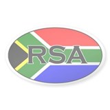 South African flag with text Oval Decal