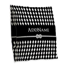 Black and White Argyle and Rop Burlap Throw Pillow