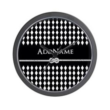 Black and White Argyle and Rope Persona Wall Clock