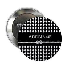 "Black and White Argyle and Rope Perso 2.25"" Button"