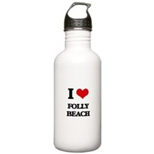 I Love Folly Beach Water Bottle